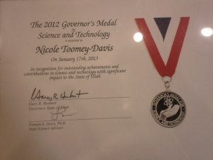 Utah Governor's Medal 2012 Nicole Toomey Davis